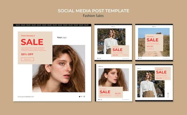 Fashion sale social media post template Free Psd