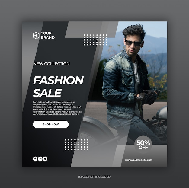Fashion sale social media post and web banner template Premium Psd
