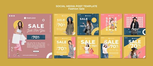 Сообщение о продаже модных товаров в социальных сетях Бесплатные Psd
