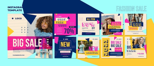 패션 판매 소셜 미디어 게시물 프리미엄 PSD 파일