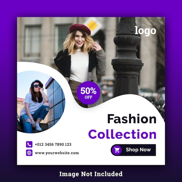 Fashion sale social media square banner psd template Premium Psd
