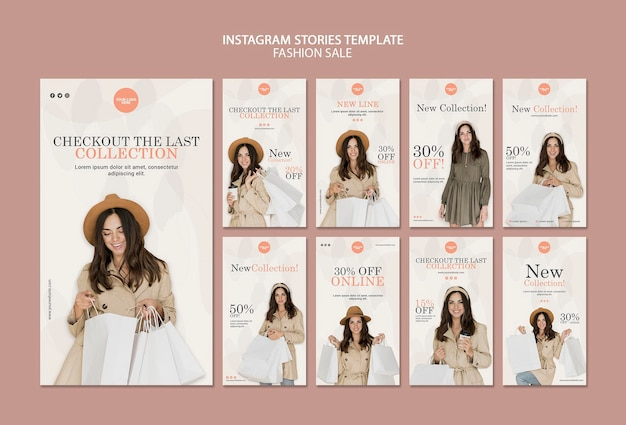 Fashion sale social media stories template Free Psd