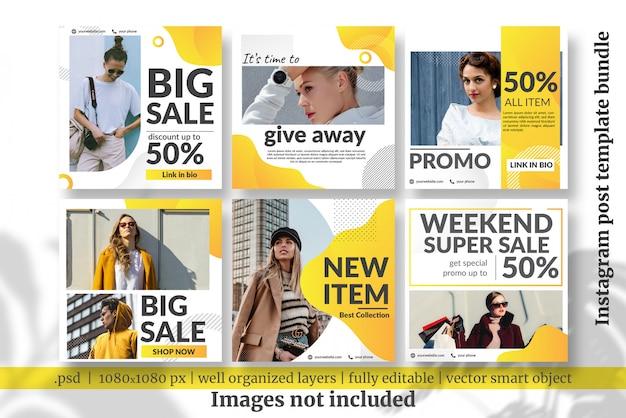 Fashion sale social media template bundle Premium Psd