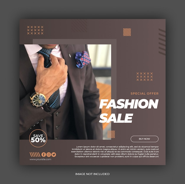 Fashion sale square banner template Premium Psd