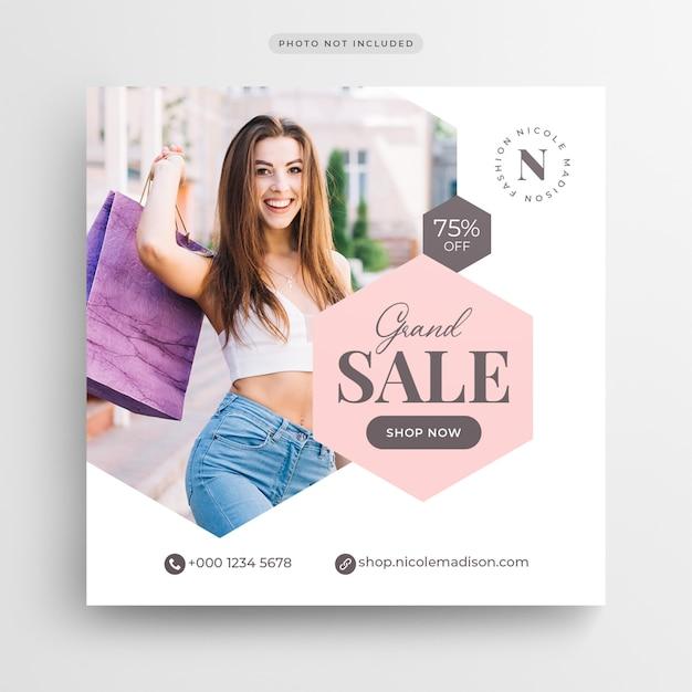 Fashion sale социальные медиа баннер или квадратный флаер Premium Psd