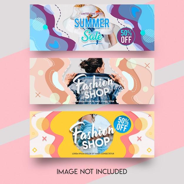 Fashion shop facebook cover template Premium Psd