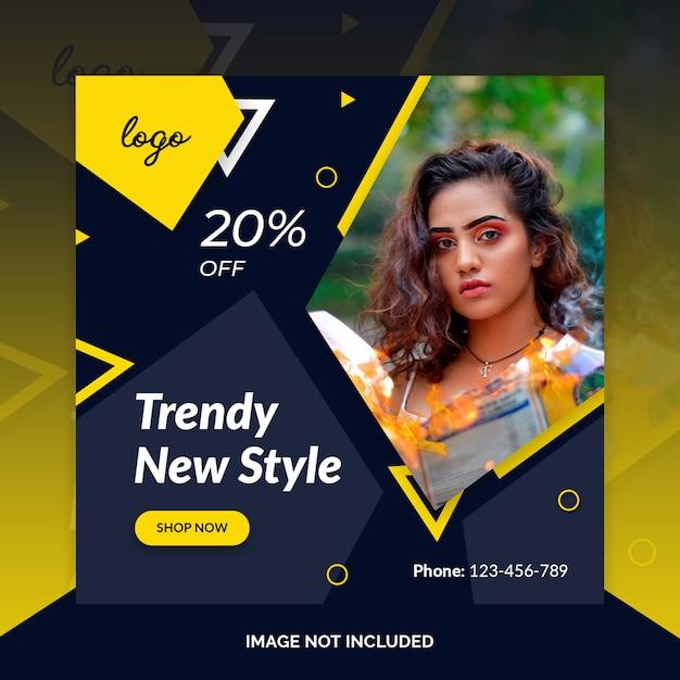 Fashion social media post design template Premium Psd