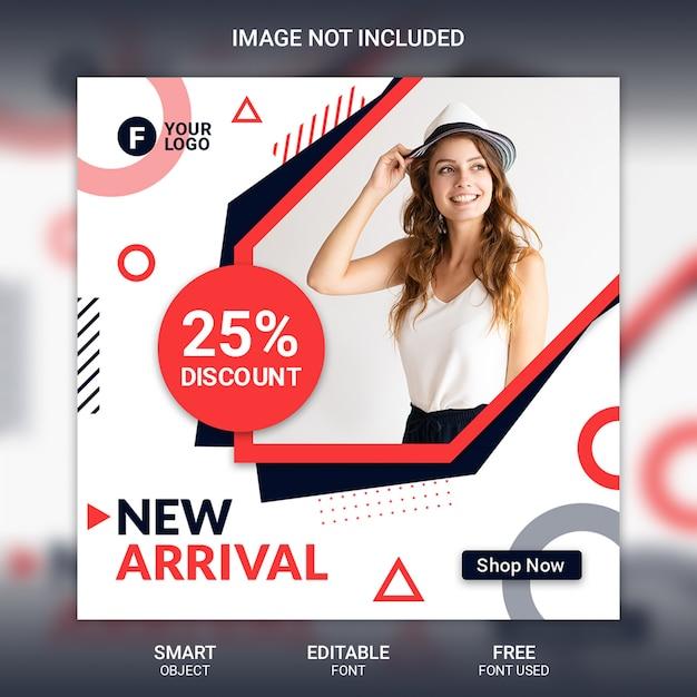 ファッションソーシャルメディア投稿テンプレート Premium Psd