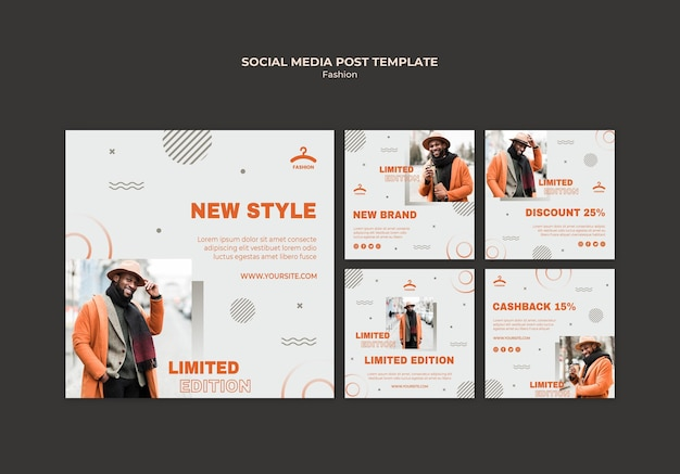 Fashion social media post template Free Psd