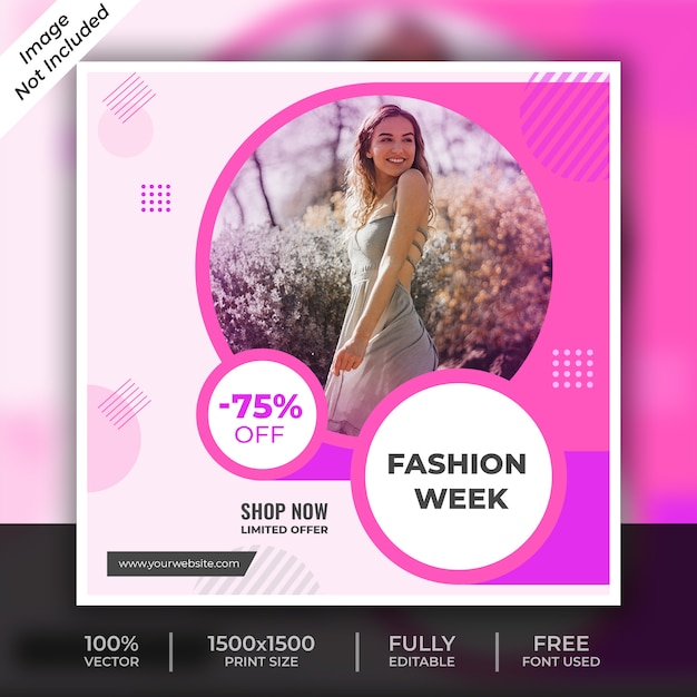 Fashion social media post template Premium Psd