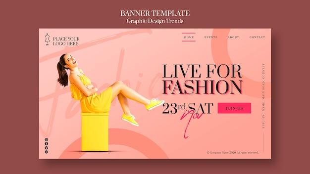 Шаблон рекламного баннера модного магазина Premium Psd