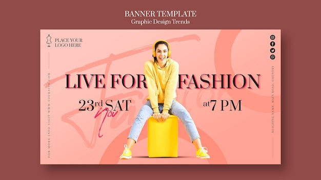 Рекламный баннер модного магазина Бесплатные Psd