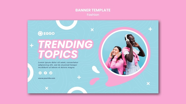 Fashion store banner template Free Psd