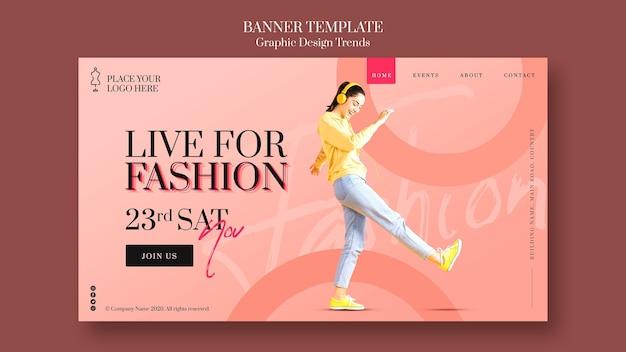 Шаблон баннера модного магазина Premium Psd
