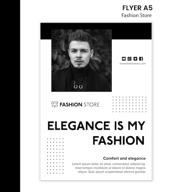 Fashion store concept flyer template Free Psd
