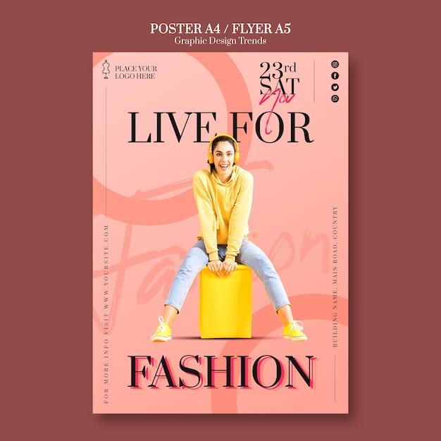 Шаблон флаера модного магазина Бесплатные Psd