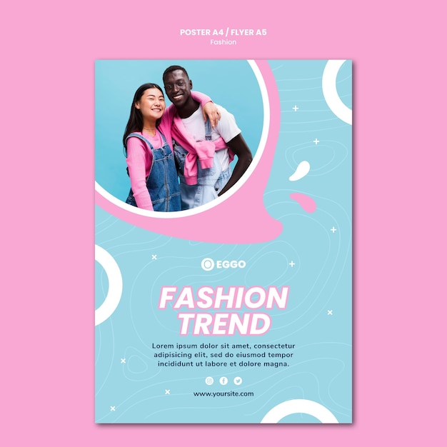 Fashion store poster template with photo Free Psd