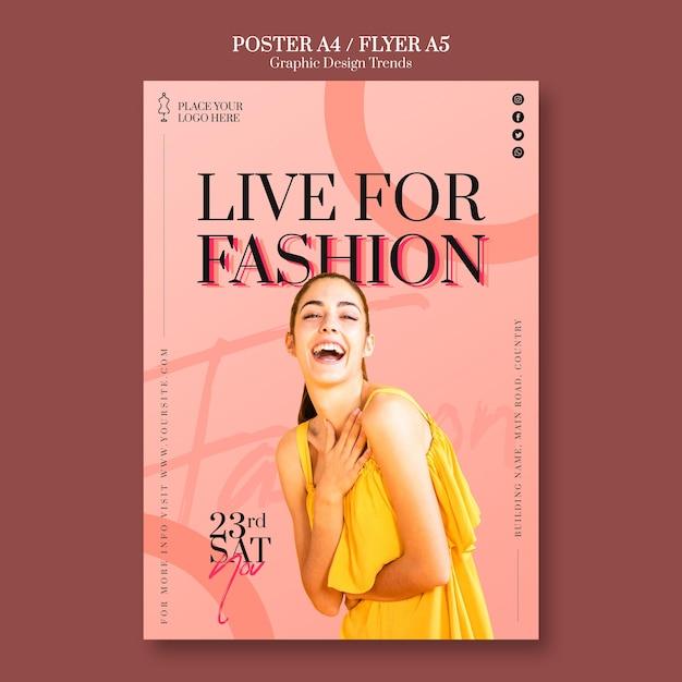 Шаблон плаката модного магазина Бесплатные Psd