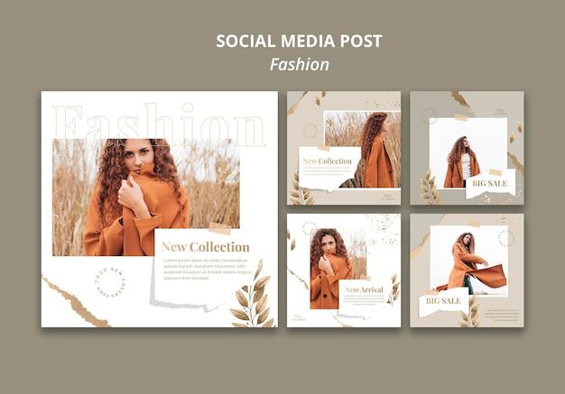 Шаблон сообщения в социальных сетях модного магазина Бесплатные Psd