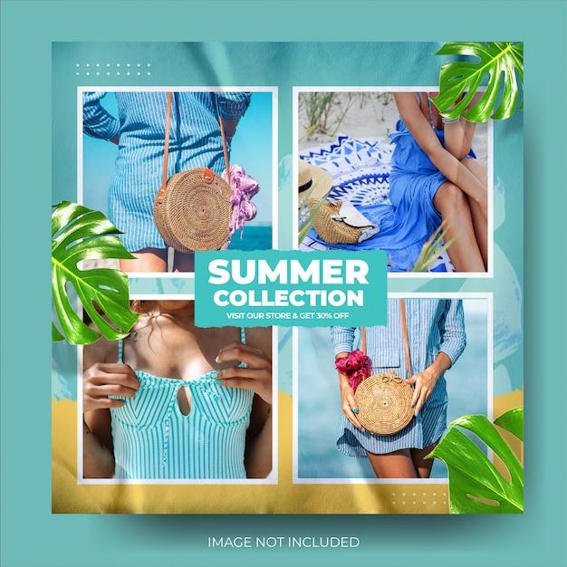 Fashion summer sale instagram post feed Premium Psd