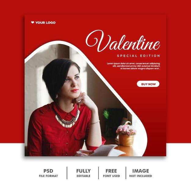 Fashion valentine banner социальные медиа пост instagram красный специальный выпуск Premium Psd