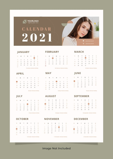 Шаблон календаря моды стены Premium Psd