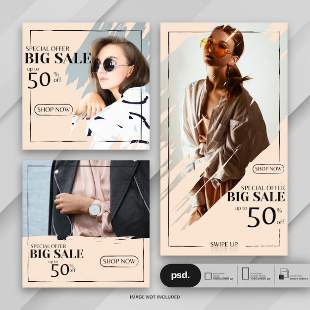 Fashion web banner social media template Premium Psd