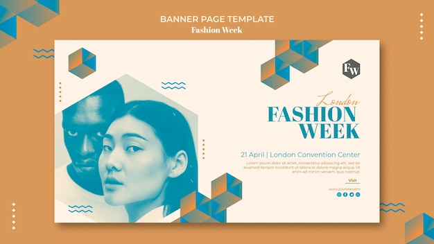 Стиль шаблона баннера недели моды Бесплатные Psd