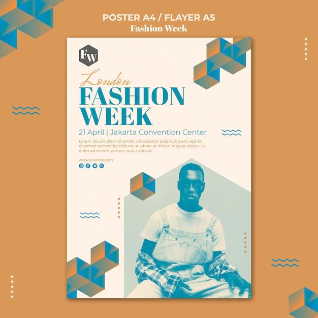 패션 위크 포스터 템플릿 스타일 무료 PSD 파일