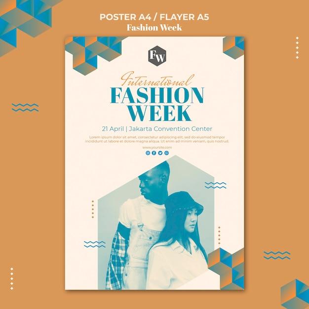 패션 위크 포스터 템플릿 무료 PSD 파일