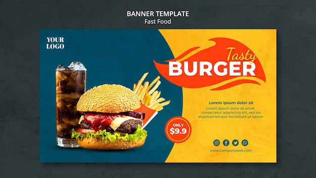 Fast food ad banner template Free Psd