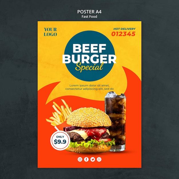 Шаблон рекламного плаката быстрого питания Бесплатные Psd