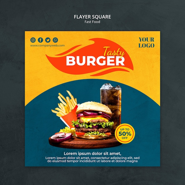 Fast food ad square flyer template Premium Psd