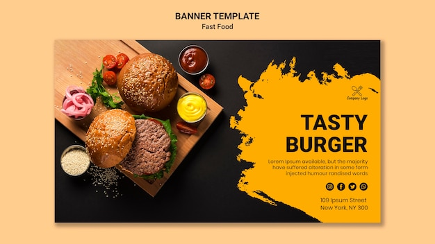 Fast food banner template Free Psd