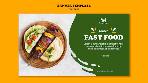 Fast food concept banner template Free Psd