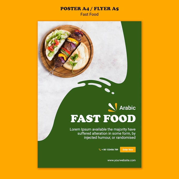 Fast food concept poster template Free Psd