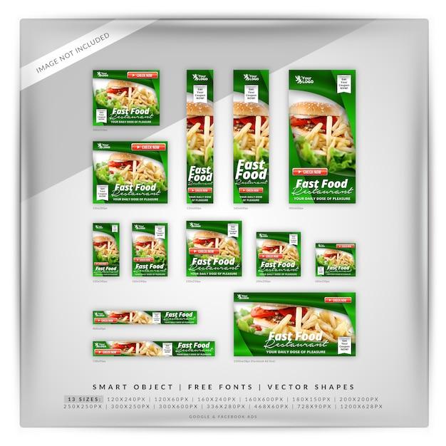 Fast food google & facebook banner Premium Psd
