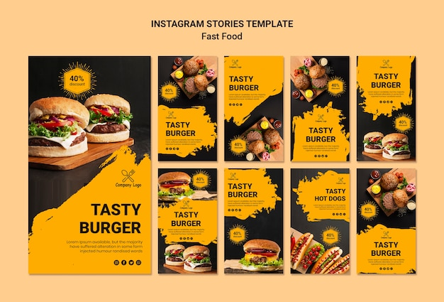 Fast food instagram stories template Free Psd