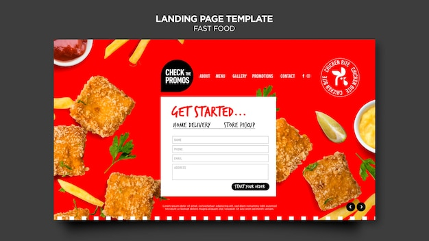 Fast food landing page template Premium Psd