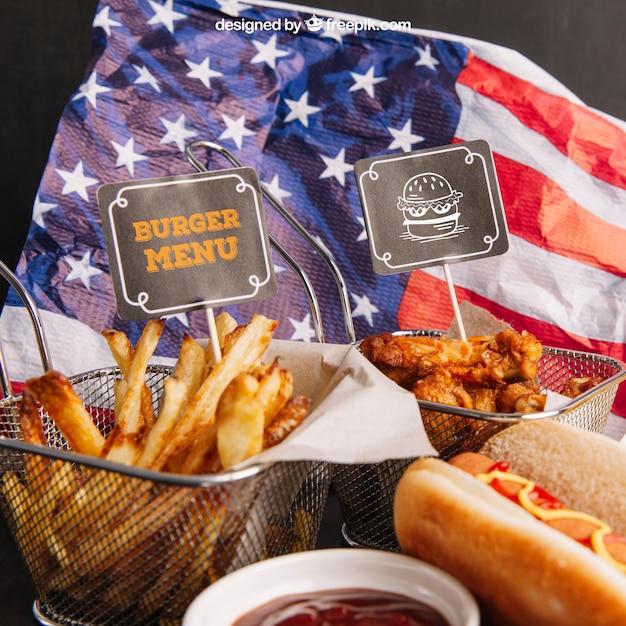 Fast food mockup on american flag Free Psd
