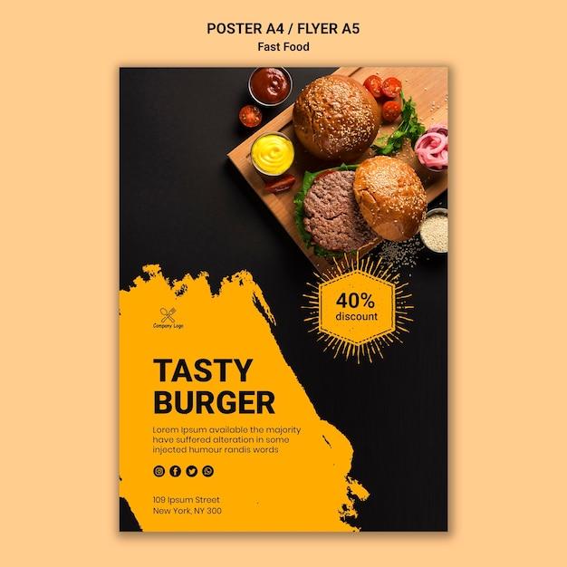 Шаблон постера быстрого питания Бесплатные Psd