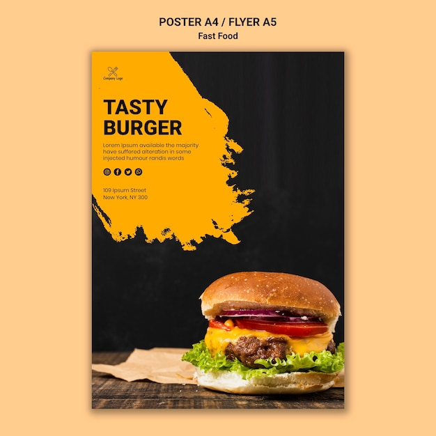 Fast food poster template Free Psd