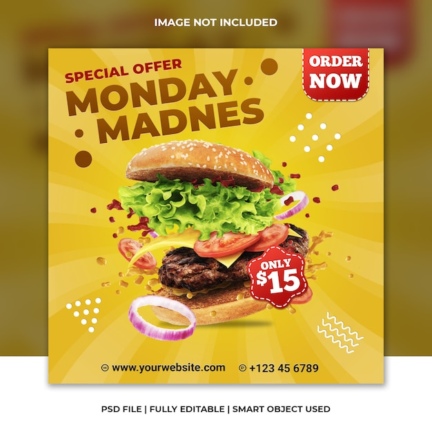 Fast food restaurant hamburger yellow cheese social media template Premium Psd