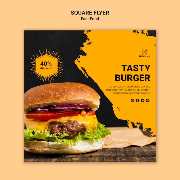 Fast food square flyer template Free Psd