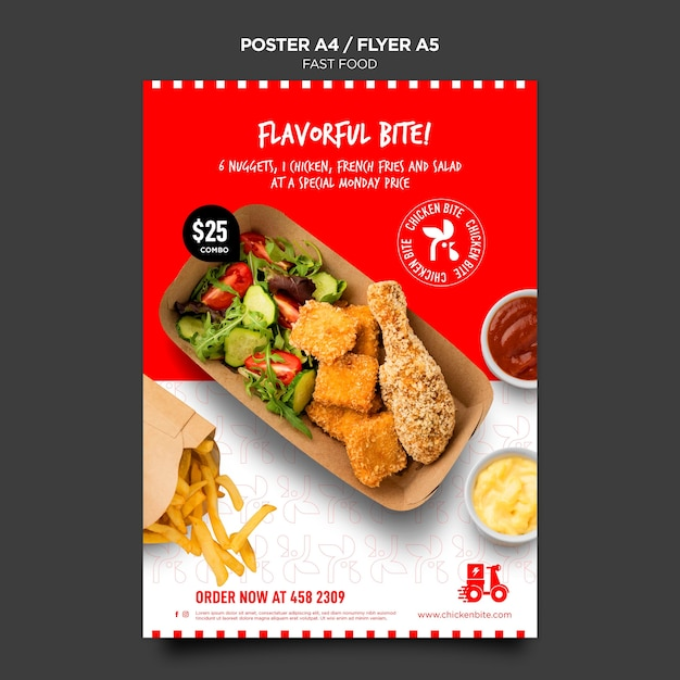 Fast food template flyer Free Psd