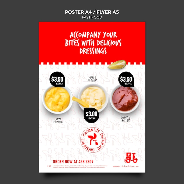 Fast food template poster Free Psd