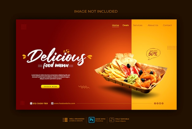 Fast food web banner template Premium Psd