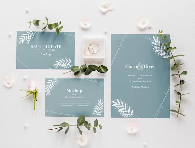 식물과 반지와 웨딩 카드의 뚱뚱한 누워 무료 PSD 파일