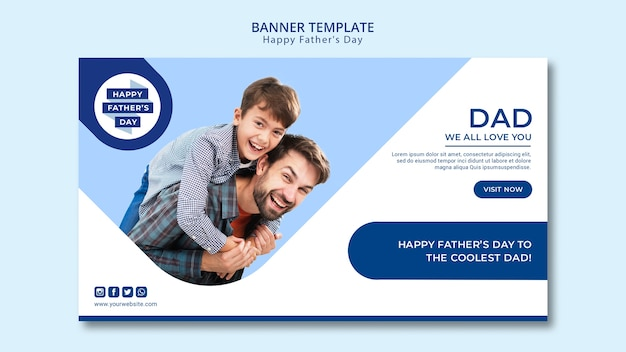 Father's day banner template Free Psd