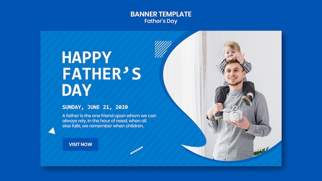Father's day with child banner template Free Psd